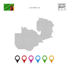 Vector Dotted Map of Zambia. Simple Silhouette of Zambia. The National Flag of Zambia. Set of Multicolored Map Markers