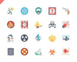 Simple Set Warnings Flat Icons for Website and Mobile Apps. Contains such Icons as Chemical, Radioactive, Toxic, Explosive, Flammable. 48x48 Pixel Perfect. Vector illustration.