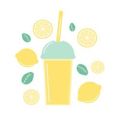 cute fresh lemonade summer set with lemons, mint  and lemon slice