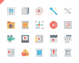 Simple Set Video Editing Flat Icons for Website and Mobile Apps. Contains such Icons as Camera, Multimedia, Filters, Frame, Photography. 48x48 Pixel Perfect. Vector illustration.