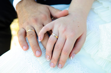 Hands of newlyweds with wedding rings.