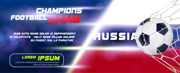Soccer or Football wide Banner With 3d Ball on flag of Russia background. Russian football game match goal moment with realistic ball in the net and place for text