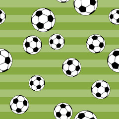 seamless pattern football on green yard background for kids fashion, vector illustration