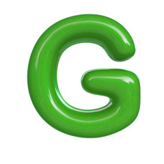 Glossy green paint letter G. 3D render of bubble font isolated on white background
