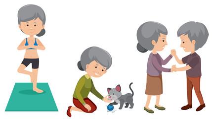 Set of elderly people doing activities