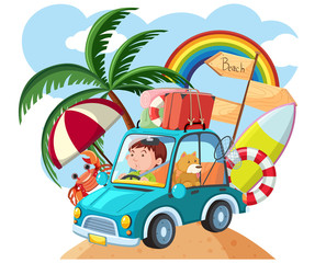 Man driving to the beach