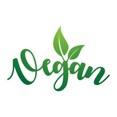 Vegan Vector Lettering. Handwritten calligraphy for restaurant, cafe menu. Vector elements for labels, logos, badges, stickers or icons, t-shirts or mugs. Vector illustration, healthy food design.