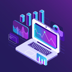 Wall Mural - Finance market analysis isometric 3d charts on business laptop. Analytical report with infographic data chart vector flat illustration