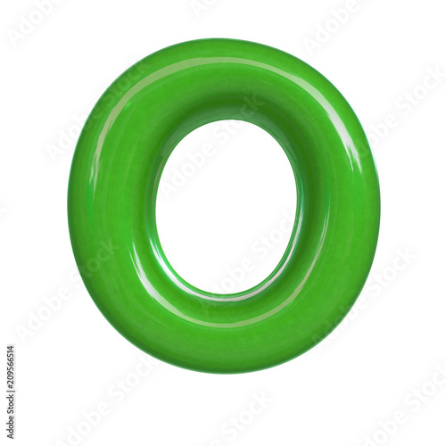 Glossy Green Paint Letter O 3d Render Of Bubble Font Isolated On