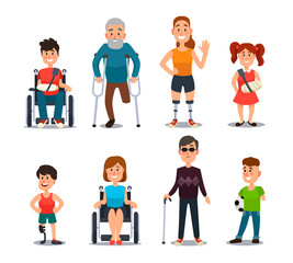 Disability people. Cartoon sick and disabled characters. Person in wheelchair, injured woman, elderly man and sickness child vector set