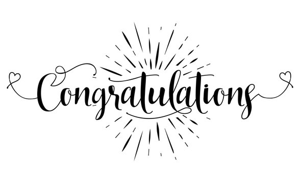 Congratulations - Hand lettering typography text in vector eps 10. Hand letter script wedding sign catch word art design.  Good for scrap booking, posters, textiles, gifts, wedding sets.