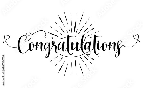 Congratulations Hand Lettering Typography Text In Vector Eps 10