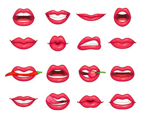 Lips collection. Beautiful girl smiling, kissing, biting pepper, cherry and lip with lipstick. Cartoon beauty kiss isolated vector set