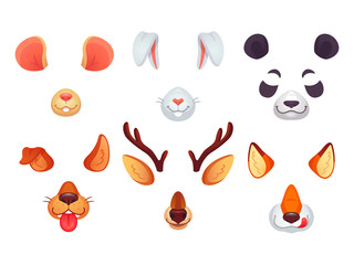 Cartoon phone masks. Funny animals ears, tongue and eyes. Brown dog bunny red fox panda bear mouse and deer mask. Animal faces vector set