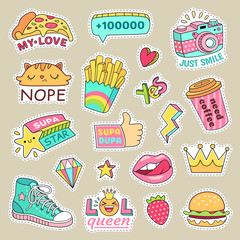 Fashioned girl badges, cute stripes and cartoon patches. Teenage badge with fashion sneakers, food and camera vector isolated stickers
