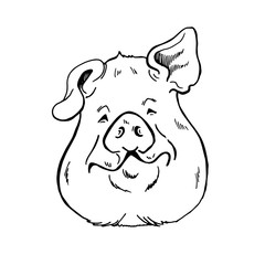 pig head sketch black and white