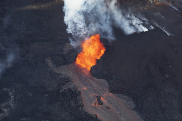 Aerial view of the eruption of the volcano Kilauea on Hawaii, in the picture Fissure 8, May 2018