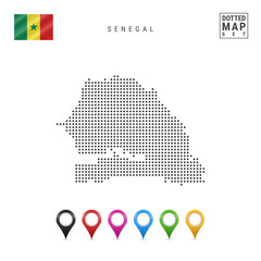 Vector Dotted Map of Senegal. Simple Silhouette of Senegal. National Flag of Senegal. Set of Multicolored Map Markers