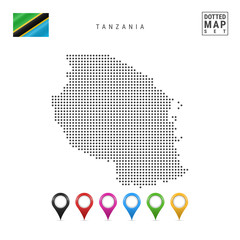 Vector Dotted Map of Tanzania. Simple Silhouette of XXX. The National Flag of XXX. Set of Multicolored Map Markers