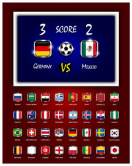 Scoreboard of football match and square design national flags with metal frame on blue and red color gradient background . Vector for international world tournament cup 2018