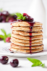 Homemade Pancakes With Cherry Topping