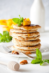 Homemade Pancakes With Peaches And Honey