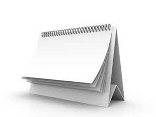 Blank paper desk spiral calendar isolated on white. 3d render