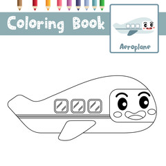 Coloring page of cute Aeroplane cartoon character side view transportations for preschool kids activity educational worksheet. Vector Illustration.