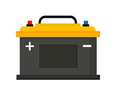 Car battery icon isolated on white background. Vector illustration in flat style. EPS10.