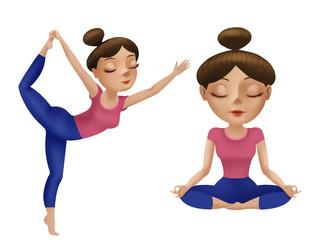 Digital painting illustration of beautiful cartoon woman in poses of yoga.