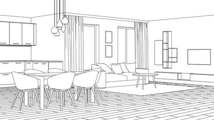 Modern house interior. Design project. Sketch. 3D rendering.
