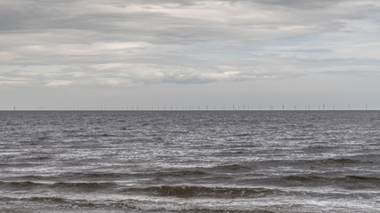 North Sea offshore wind farm, turbines on the horizon