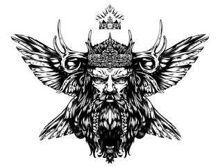 King with abstract horns and wings