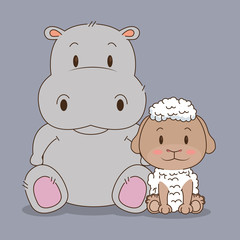 cute and little sheep and hippo characters vector illustration design