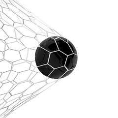 Vector Realistic black soccer ball or football ball in net on black background. 3d Style vector Ball