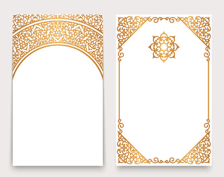 Golden invitation cards with border ornament in arabic style