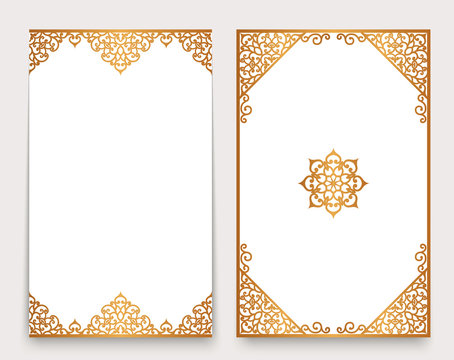 Vintage cards with golden border and corner ornaments