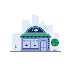 City cafe in flat style on background silhouette of the city.