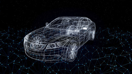 car model body structure, wire model with Edge Glow Reflect 3d rendering