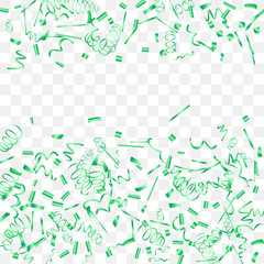Abstract background with falling green confetti.