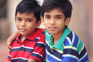 Portrait of Indian Little Brothers
