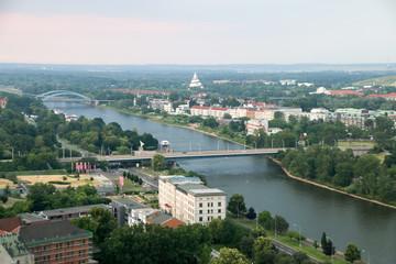 Blick vom Dom auf die Elbe und den Elbauenpark, Magdeburg