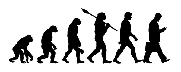 Theory of evolution of man silhouette
