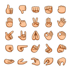 Vector cartoon hands gestures icon set