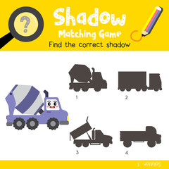 Shadow matching game of Concrete Mixer Truck cartoon character side view transportations for preschool kids activity worksheet colorful version. Vector Illustration.