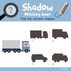 Shadow matching game of Container Truck cartoon character side view transportations for preschool kids activity worksheet colorful version. Vector Illustration.
