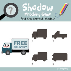 Shadow matching game of Delivery Truck cartoon character side view transportations for preschool kids activity worksheet colorful version. Vector Illustration.