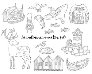 Scandinavian collection. Vector illustrations with Scandinavian ornaments on white isolated background