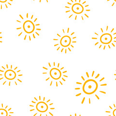 Hand drawn sun icon seamless pattern background. Business concept vector illustration. Handdrawn sunshine symbol pattern.