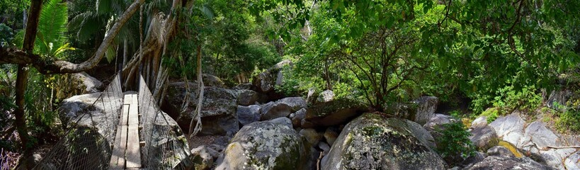 Rope and Wire suspended hanging bridge across a Jungle River in El Eden by Puerto Vallarta Mexico where movies have been filmed